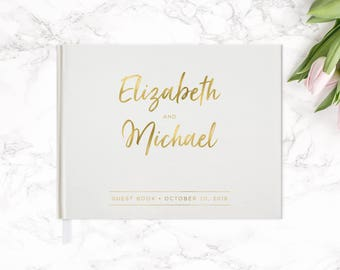 Real Gold Foil Wedding Guest Book 10.5x8, Guest Book, Custom Guest Book, Wedding Gift, Watercolor Floral