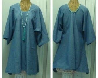 New Chambray Dress A Line Tunic Blouse Half Sleeves Lagenlook Minimalist