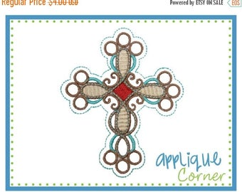 40% OFF INSTANT DOWNLOAD Cross Embellished design digital for embroidery machine by Applique Corner