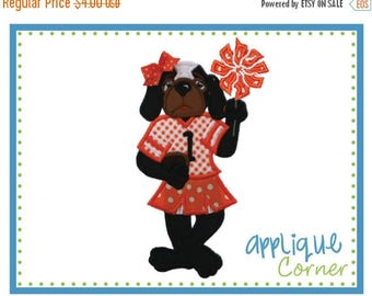 40% OFF 713 Hound Dog Standing Girl Mascot Football applique digital design for embroidery machine by Applique Corner