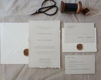 Vintage All Typed Invite, RSVP, Detail Card & Envelopes