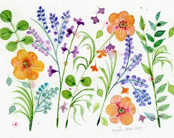 small floral watercolor orange and blue flowers