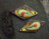 green yellow connector charm enamel with glass lampwork jewelry supplies 2pc 4ophelia