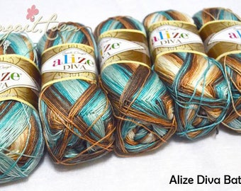 Alize Diva Batik Yarns - Summer Yarns - Set of 5 Skeins (500g - 1750m)