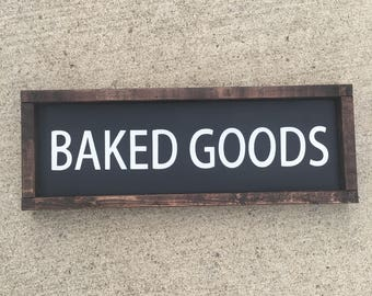 Baked goods painted solid wood sign