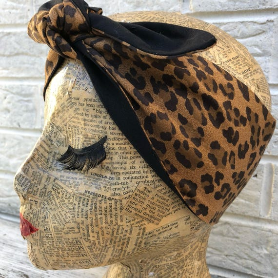 Cheetah Leopard Print Headacarf Rockabilly Pinup 50's inspired