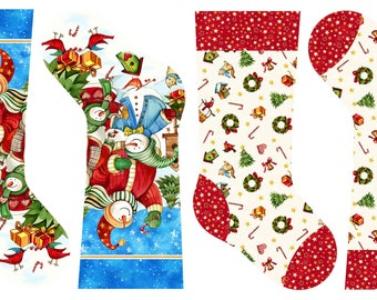 Christmas Stocking panel by Northcott. Winter Magic. Snowmen