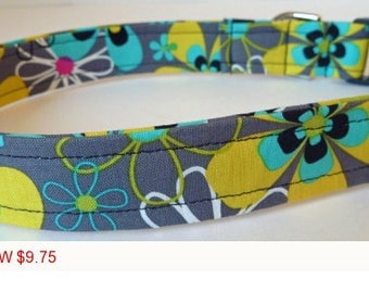 "Sale - 50% Off - Grey, Citron, Turquoise & Pink Floral Dog Collar - ""Lizzy"" - Free Colored Buckles"