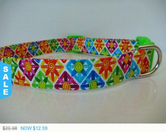 "Sale - 40% Off Dog Collar - Multi Colored Flowers in Triangles ""Sunshine"""