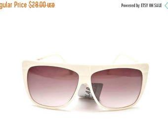 ON SALE 80s Oversized Shield Sunglasses White Dead Stock Summer