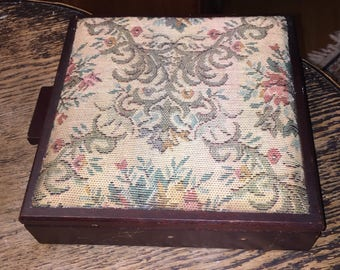 Wooden Sewing Box Vintage Tapestry Pincushion Sewing Box