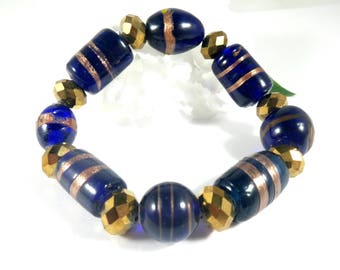 Lampwork Beads Cobalt Blue Bracelet w Gold Accents, Lampwork Bracelet, Chunky Bracelet, Statement Bracelet, Womens Jewelry, Gift for Her