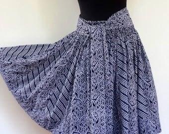 Indigo blue short skirt with panels of indigo blue cotton 2 designs, 36 pieces