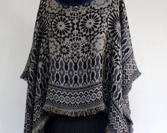 PULLOVER PONCHO covers shoulder woven viscose ethnic design, reversible, black, blue and gray