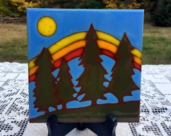 Trees & Moon Tile/ 6 x 6 Ceramic Tile/Green Fir Trees/ Mountains and Moon/Green Blue Yellows/Coaster Trivet Art Tile/Rustic Cabin Accessory