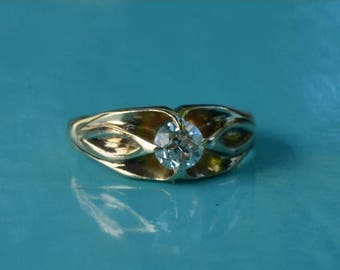 DEADsy LAST GASP SALE Old European Cut Diamond Engagement Ring // 14K Gold Handmade Band w/ Antique Diamond // Art Nouveau Floral // alphons