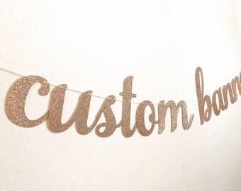 """Custom Banner, 4.5"""" Custom Banner Script, Cursive Custom Banner, Bubbly Bar Banner, Bridal Shower Banner, Custom Glitter Banner, siz4.5"""" LG"""