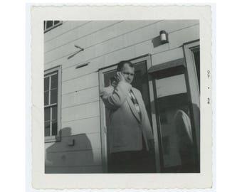 Reflection & Shadow, 1956 Vintage Snapshot Photo (77592)