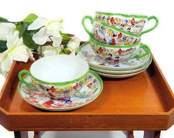 Four Sets Vintage Japanese Teacups and Saucers Hand Painted Ladies Lanterns Scenic