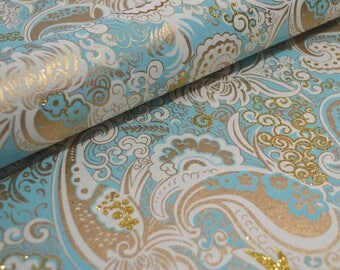 Handmade Indian Paper - Seafoam Blue Paisley