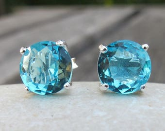 Blue Topaz Earrings-Blue Quartz Earrings-Blue Topaz Stud Earrings- Stone Post Earrings- Gemstone Studs- Stone Earrings- Silver Stud Earrings