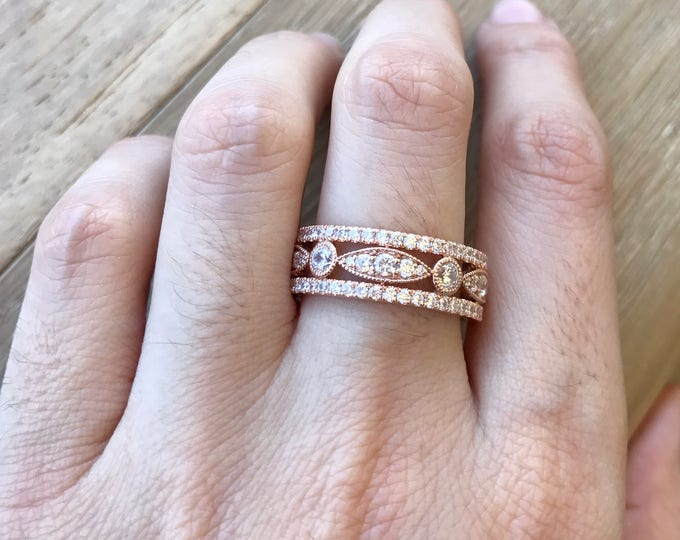 14k Rose Gold Eternity Band- Rose Gold Wedding Band- Cubic Zirconia Ring Set- Three Row Wedding Band