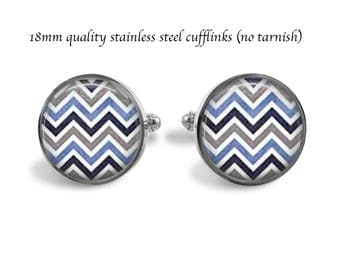 Quality 18mm Chevron Stainless Steel  Cufflinks - No Tarnish Cuff links - Chevron Jewelry - Wedding Prom - Holiday Gift - Suit Accessory