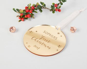 Baby's First Christmas Personalised Gold Bauble