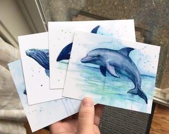 Postcard Set Sea Creature Cards Whales Dolphins Humpbacks Orca Postcards Animal Postcards Watercolor Cards - Set of 4 Watercolor Prints