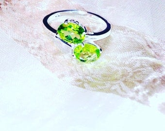Twin Gems Peridot Ring or Engagement Ring In Sterling Silver Handmade Jewelry August Birthstone Bridal Jewelry By NorthCoastCottage Jewelry