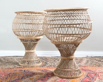 Vintage Set of Two Tall Wicker Basket Plant Stand Planters