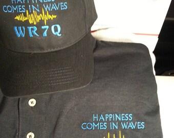 HAM RADIO Shirt & Hat Combo  -  Custom EMBROIDERED in CrushProof Box with Waves + Callsign - Unisex Sizes  C8