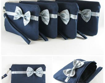 SUPER SALE - Set of 8 Navy with Little Silver Bow Clutches - Bridal Clutches, Bridesmaid Wristlet, Wedding Gift,Zipper Pouch - Made To Order