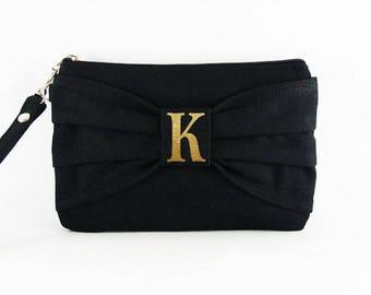 SUPER SALE - Black Bow Clutch - ( Gold Glitter Letter ) iPhone Wristlet, Credit Card Bag, Makeup Bag, Zipper Pouch - Made To Order