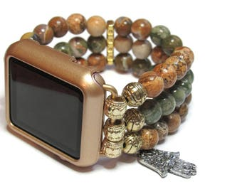 Custom Apple Watch Band - BeadsnTime - Natural Stone Beaded Apple Watch Band - Positive Energy Apple Band - 38 mm Band or 42 mm Band