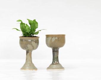 Vintage Pottery Wine Glasses - Vintage Pottery Goblets - Studio Pottery Goblets - Vintage Studio Pottery Succulet Pots - Boho Decor
