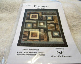 """Paper pattern for a quilt called Framed by Nine Mile Patterns featuring Artisan Spirit Echos for Northcott 56"""" x 72"""""""
