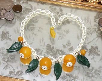Vintage Bakelite Necklace - JUICY FRUIT - Celluloid Chain Pin Up Girl Marbled Fruit Salad & Leaves Early Plastic Era