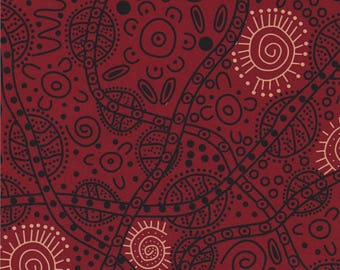 M & S Textiles, Australian Aboriginal Fabric, Bush Tucker, Red, 100% cotton