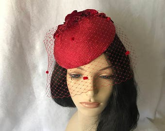 Red Fascinator hat with Veil, Red Tea Party Hat, Red Church Hat,Red Kentucky Derby Hat with dotted veil,Red Fancy Hat, Red Hat, Occasion hat