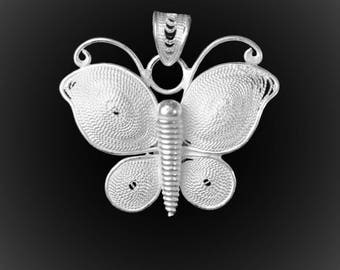 Butterfly pendant in silver embroidery