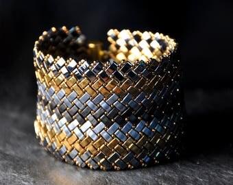 Herringbone Half Tila beads Bracelet,  Handmade, Beaded,Handwoven Cuff, Gunmetal, Gold, Grey Miyuki crystal beads, made to order