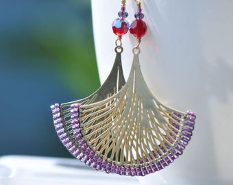 Special listing, reserved for D, 2 pair of earrings handstiched, beaded lasercut, Miyuki beads and Swarovski crystals