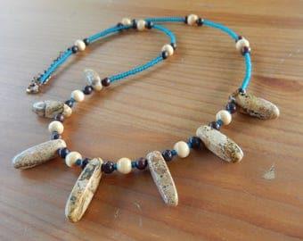 Stone, Glass and Wood Handmade Beaded Necklace - Green, Brown, Maroon - Gemstone, Hippie, Gypsy, Bohemian, Earthy, Natural, Boho
