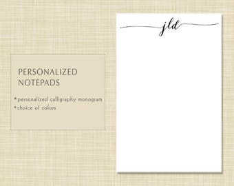 Personalized Notepad - Personalized Note Pad - Monogram Notepad - Monogram Note Pad - MODERN CALLIGRAPHY