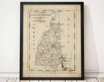 Old New Hampshire Map Art Print 1816 Antique Map Archival Reproduction