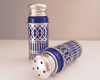 Silver Salt & Pepper Shakers Cobalt Blue Glass And Silver Filigree Shakers