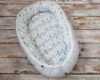 Baby nest, baby lounger, baby change pad, reversible, animals
