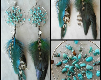 Turquoise Bohemian Hippie Tribal Silver Dream Catcher Earrings with Hand Arranged Feathers by The Emerald Lotus