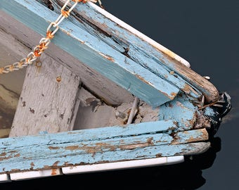 Blue Weathered Boat Photography, Rowboat Bow Rusty Chain Photo, Rockport Harbor MA, Vertical or Horizontal Print, Large Nautical Wall Decor